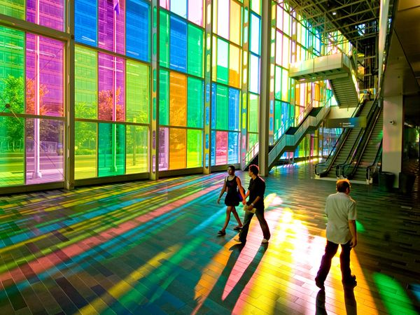 colored glass at the palais des congrs - Colored Glass