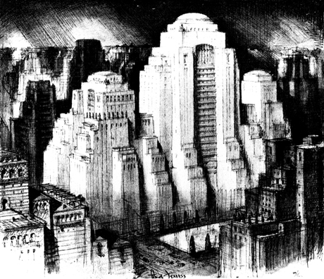 Another One Of Hugh Ferriss Famous Architectural Drawings Titled An Imposing Glimpse