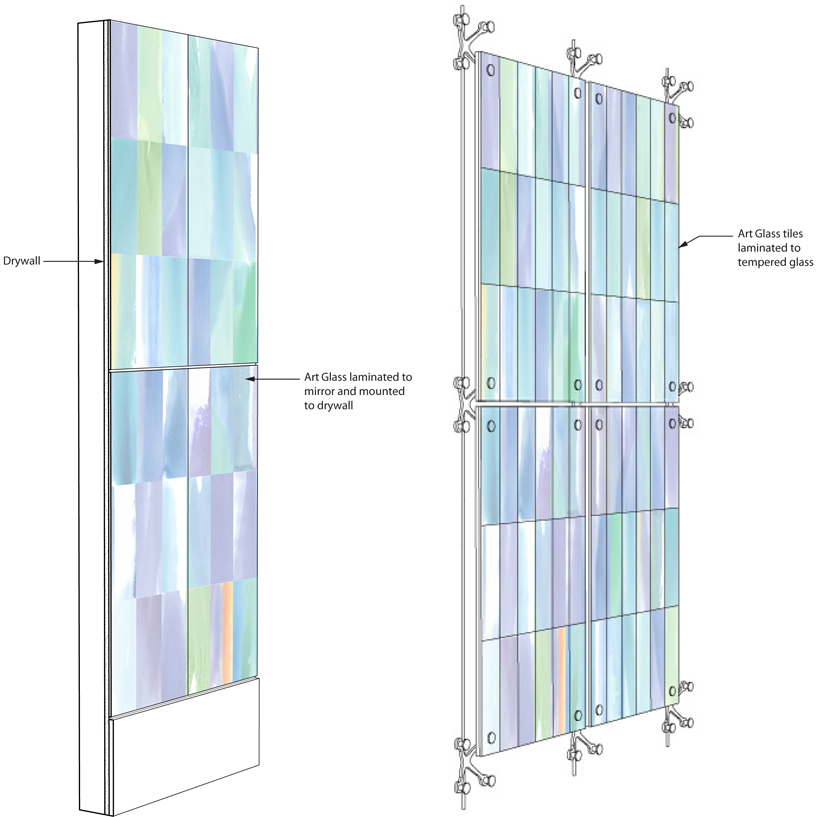 Painted glass installation diagram