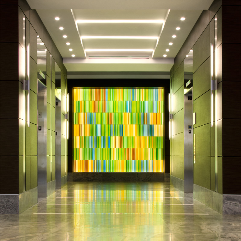 Fallsgrove Plaza Elevator Corridor Glass Installation - Paul Housberg