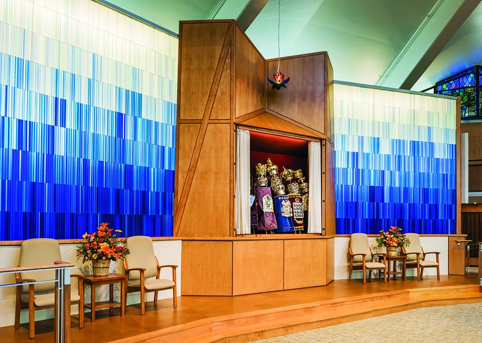 The sacred space of Temple Adath Israel. Art glass screens by Paul Housberg.